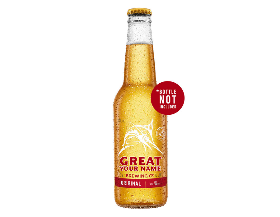 GREAT NORTHERN ORIGINAL 24 x 330ml NAME CHANGE only Stubby label