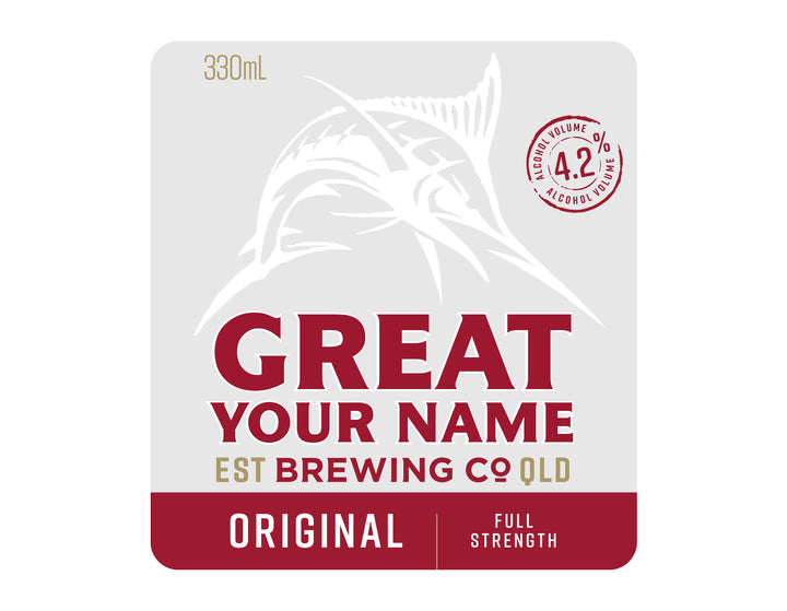 GREAT NORTHERN ORIGINAL 6 x 330ml NAME CHANGE only Stubby label