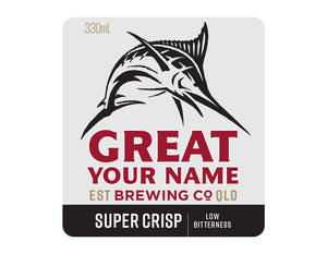 GREAT NORTHERN SUPER CRISP 6 x 330ml NAME CHANGE only Stubby label