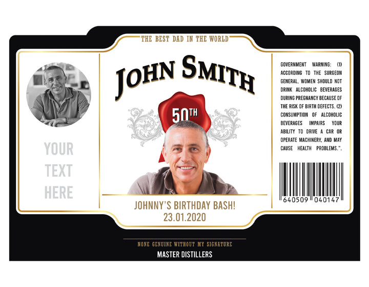1 x BOURBON 700ml Complimentary Label With Picture AND/OR Text