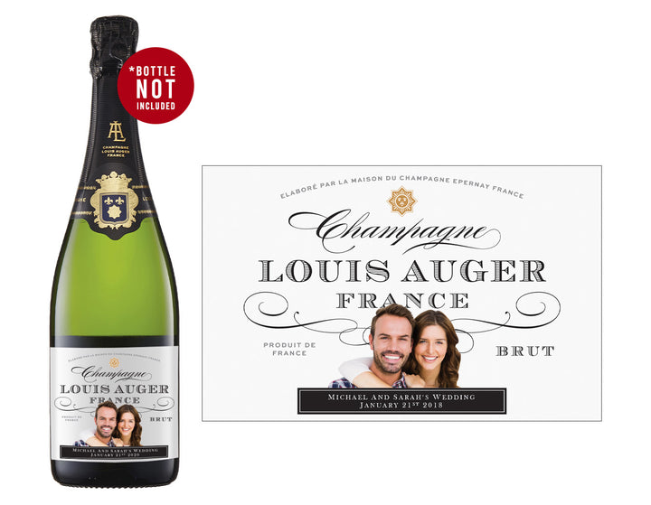 6 x 750ml Louis Auger Champagne labels with PICTURE AND/OR TEXT