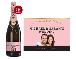 6 x Moët & Chandon Rosé Champagne 750ml Complimentary Label With Picture AND/OR Text