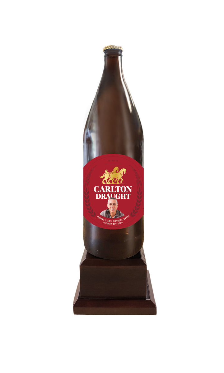 CARLTON DRAUGHT Long Neck Bottle on Pedestal with PERSONALISED LABEL