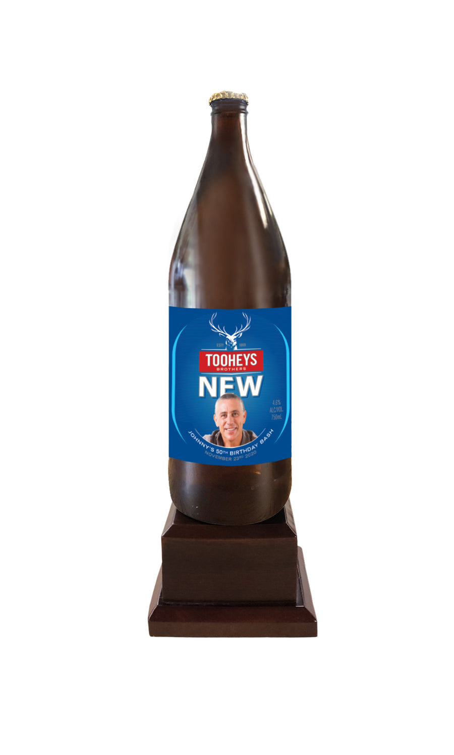 Tooheys New Long Neck Bottle on Pedestal with PERSONALISED LABEL