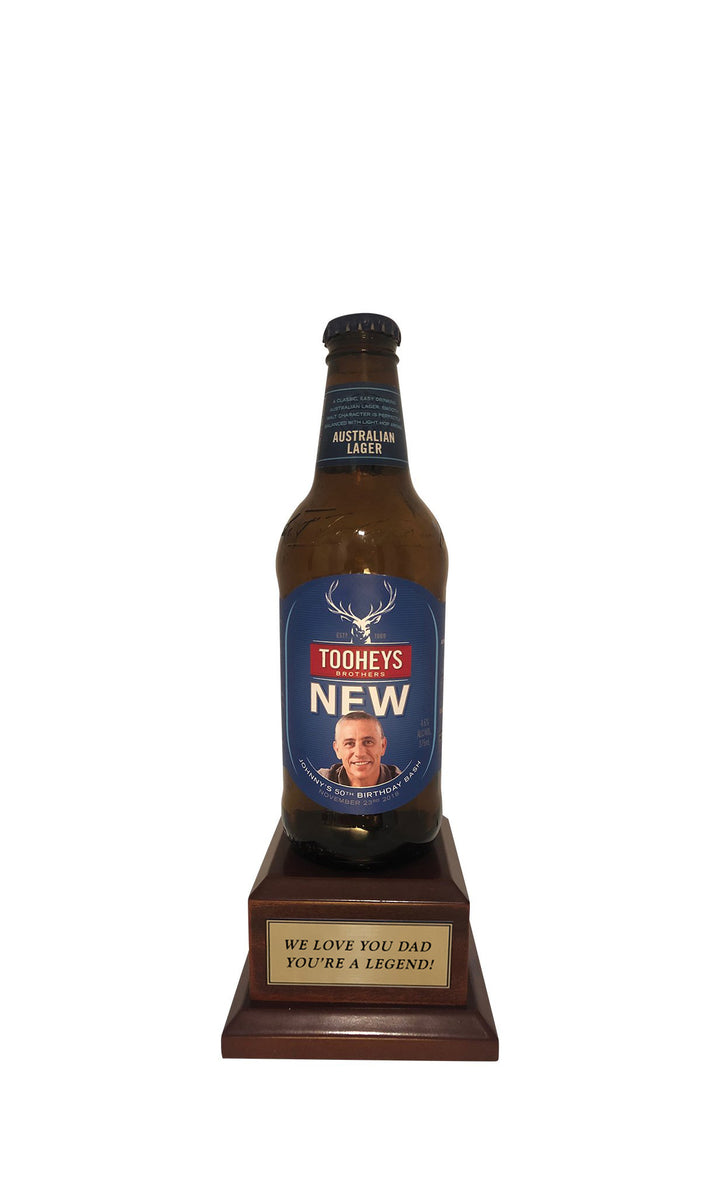 TOOHEYS NEW Bottle on Pedestal with PERSONALISED LABEL & PLAQUE