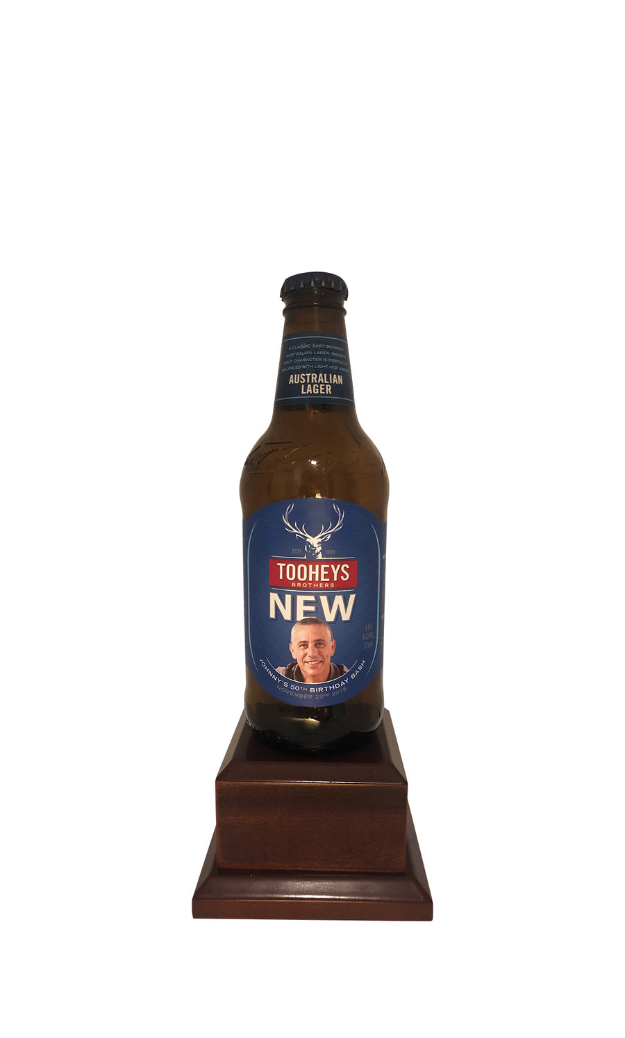 TOOHEYS NEW Bottle on Pedestal with PERSONALISED LABEL