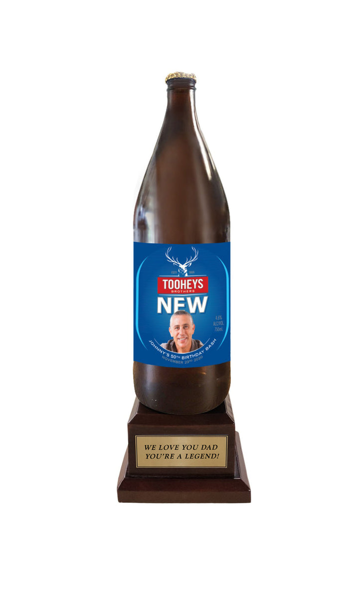 Tooheys New Long Neck Bottle on Pedestal with PERSONALISED LABEL & PLAQUE