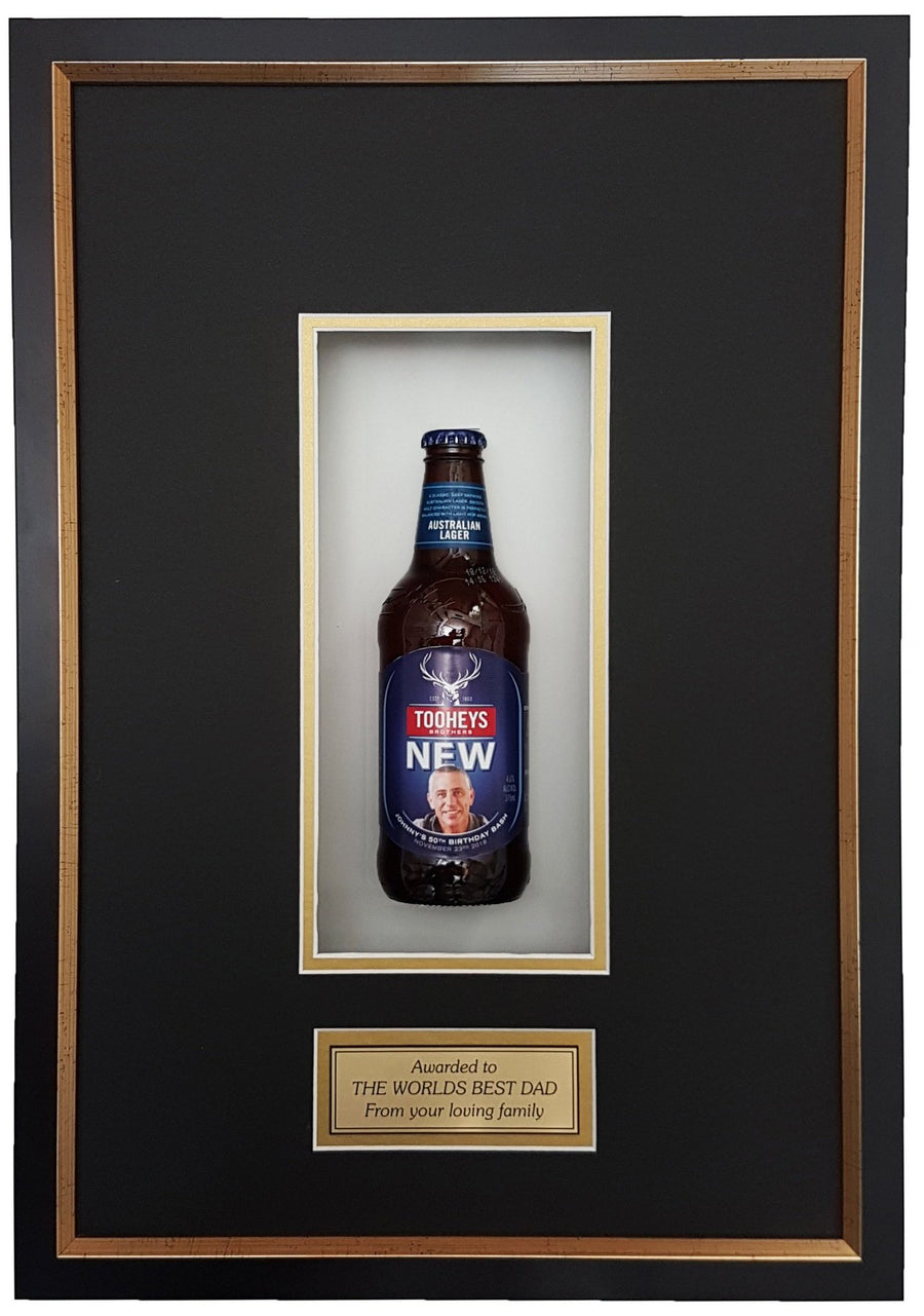 TOOHEYS NEW Deluxe Framed Beer bottle with Engraving (50cm x 34cm)-My Brand And Me
