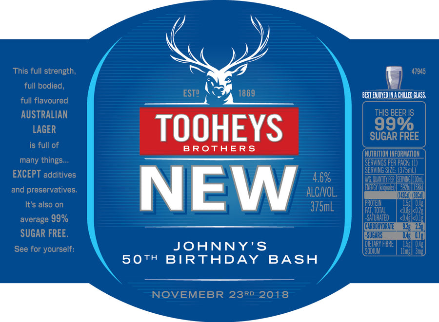 TOOHEYS NEW 24 x 375ml Stubby labels with PICTURE AND/OR TEXT