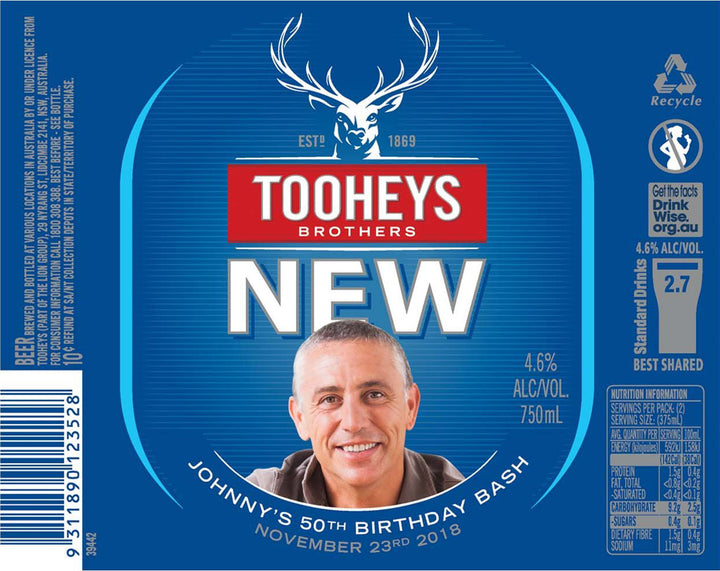 TOOHEYS NEW 6 x 750ml Longneck labels with PICTURE AND/OR TEXT