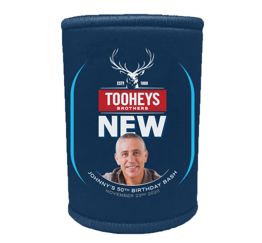 TOOHEYS NEW 6 x Personalised Stubby Holders with PICTURE and/or TEXT (Discounts for Multiples)