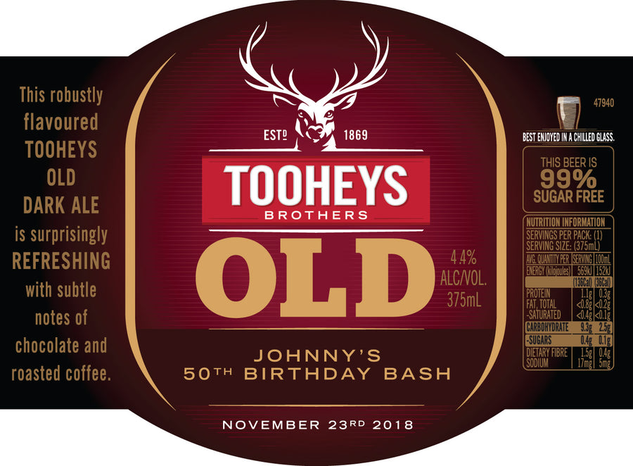 TOOHEYS OLD 24 x 375ml Stubby labels with PICTURE AND/OR TEXT