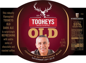 TOOHEYS OLD 6 x 375ml Stubby labels with PICTURE AND/OR TEXT