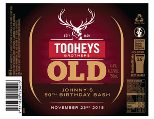 TOOHEYS OLD 6 x 750ml Longneck labels with PICTURE AND/OR TEXT