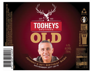 TOOHEYS OLD 6 x 750ml Longneck labels with PICTURE & TEXT-My Brand And Me