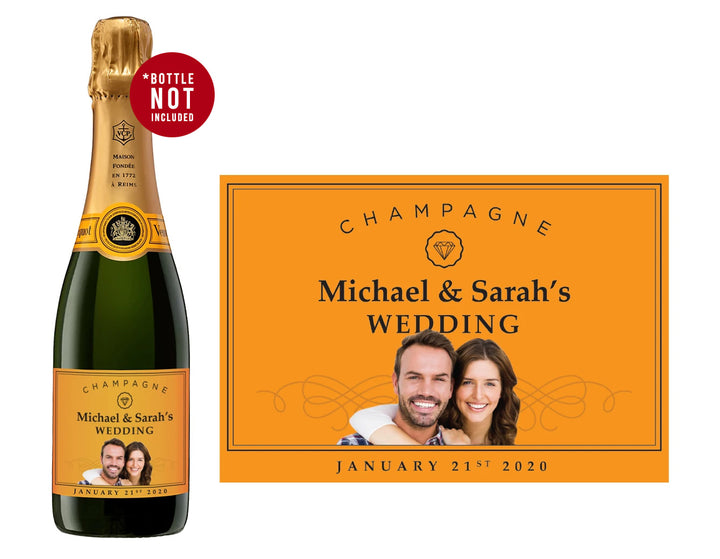 1 x Veuve Clicquot Champagne 750ml Complimentary Label With Picture AND/OR Text