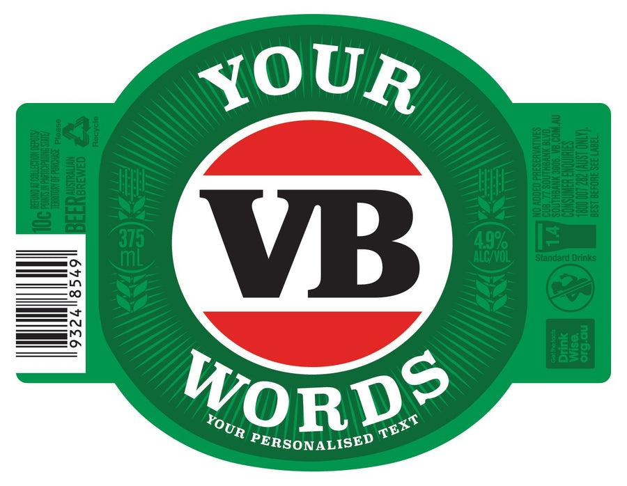 VICTORIA BITTER 24 x  375ml Stubby labels with PICTURE AND/OR TEXT