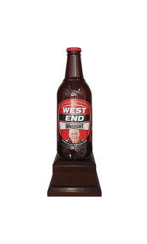 WEST END DRAUGHT Bottle on Pedestal with PERSONALISED LABEL