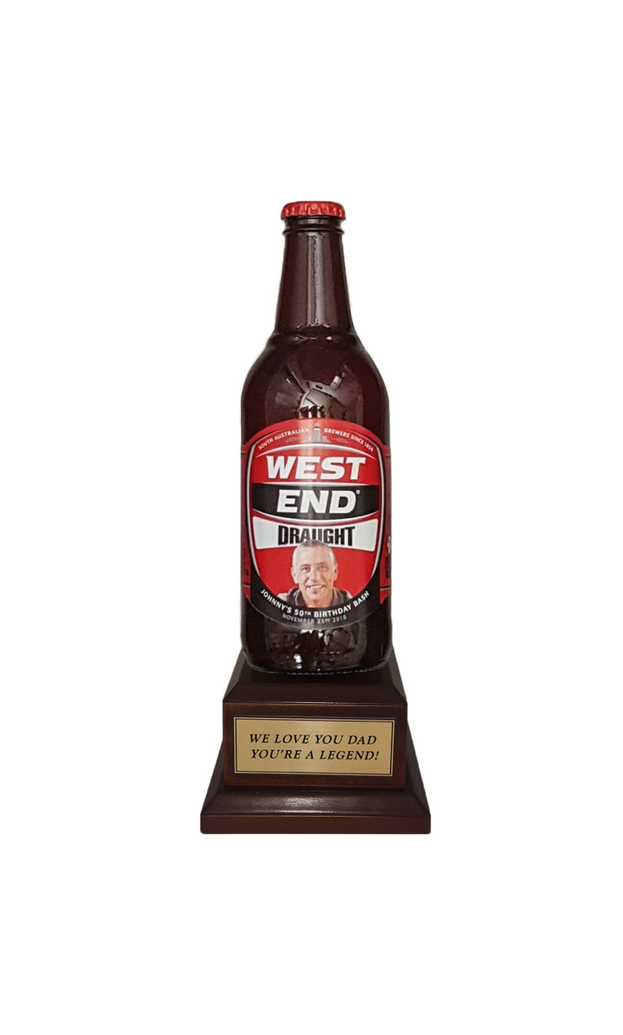 WEST END DRAUGHT Bottle on Pedestal with PERSONALISED LABEL & PLAQUE