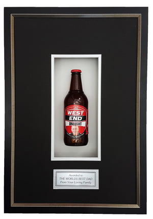 WEST END DRAUGHT Deluxe Framed Beer bottle with Engraving (50cm x 34cm)-My Brand And Me