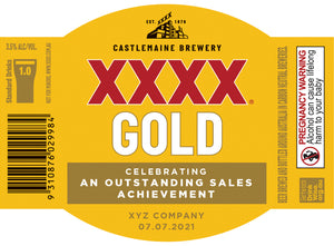 XXXX GOLD 6 x 375ml Stubby labels with CUSTOMISED TEXT-My Brand And Me