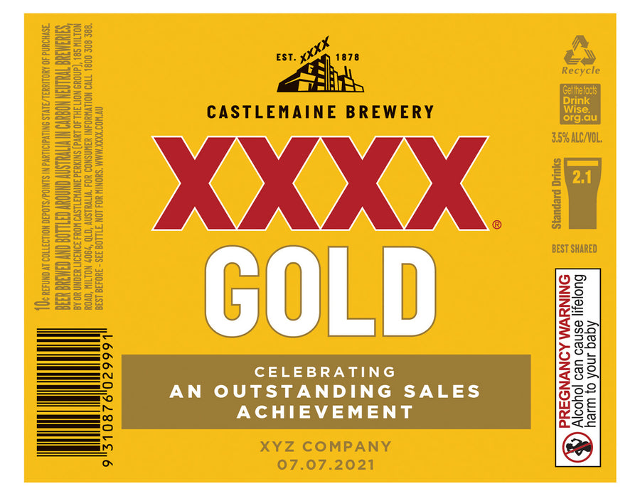 XXXX GOLD 6 x 750ml Longneck labels with CUSTOMISED TEXT-My Brand And Me