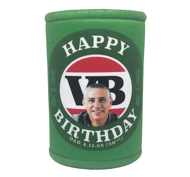 VICTORIA BITTER 6 x Personalised Stubby Holders with PICTURE and/or TEXT (Discounts for multiples)
