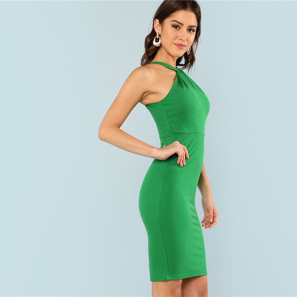 Green Sleeveless High Waist Halter Dress