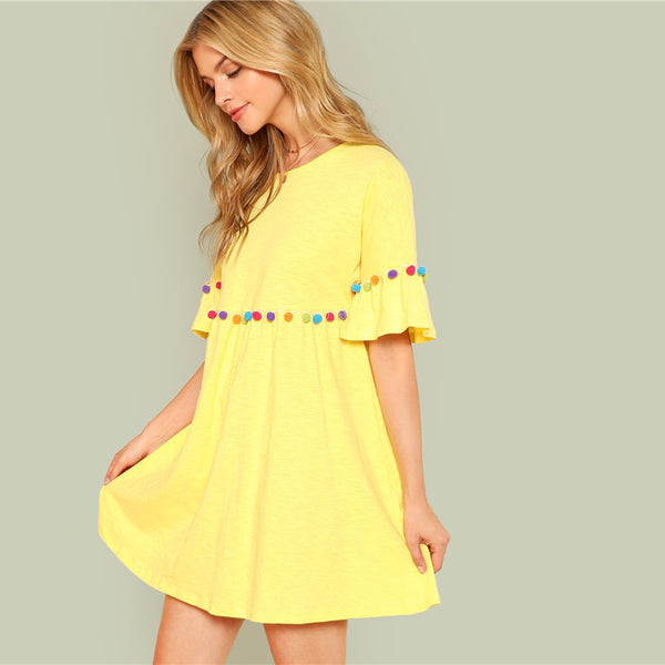 Yellow Ruffle Boho Dress