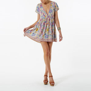 Boho Vintage Birds Floral Print Mini Dress