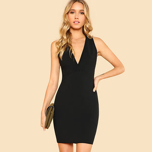 Black Surplice Neck Dress