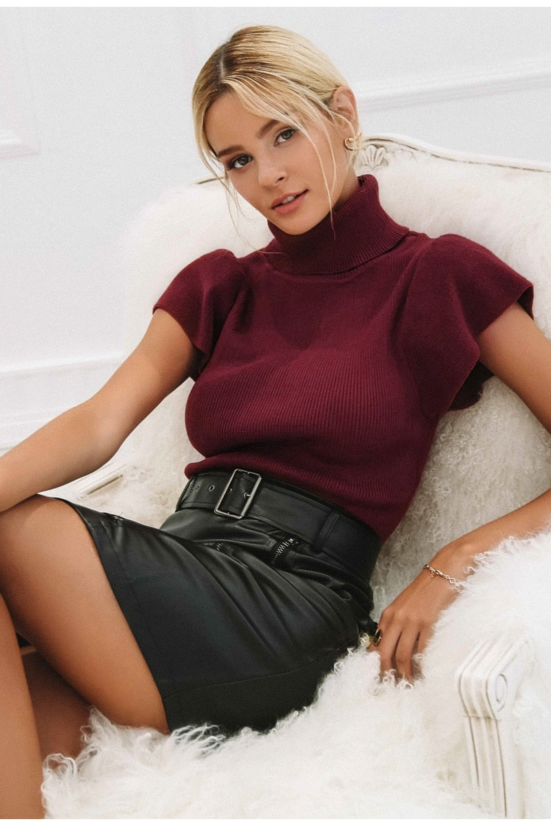 Knitted Turtleneck T-Shirt
