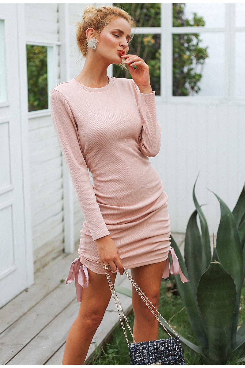 Drawstring lace up skinny knitted sweater dress