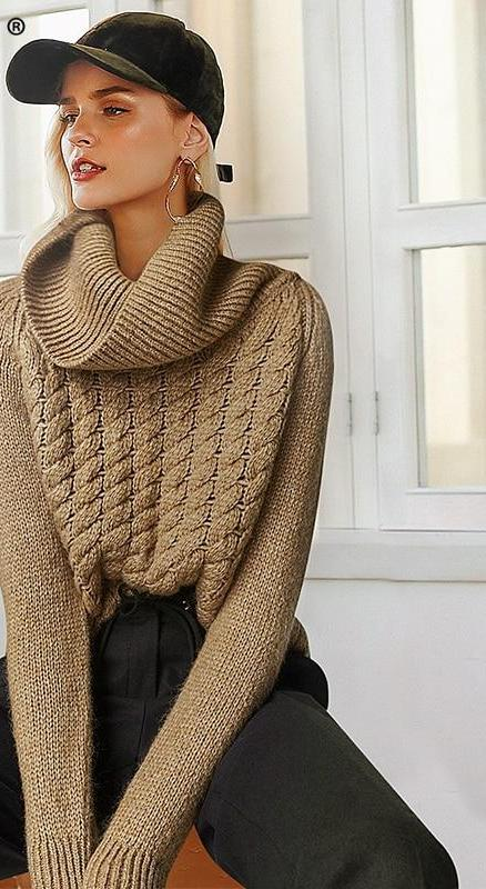 Knitted turtleneck high collar pullover jumper