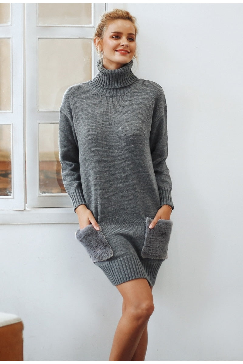 Elegant turtleneck women sweater