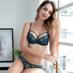 ultra-thin sexy transparent lace adjusted-straps soft bra set