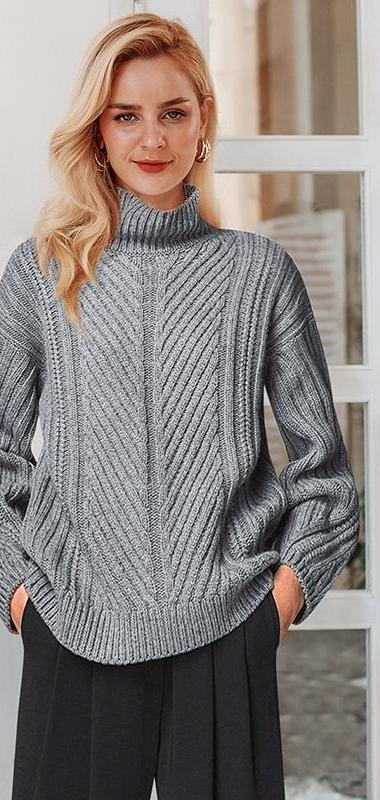 Knitted striped high collar turtleneck sweater