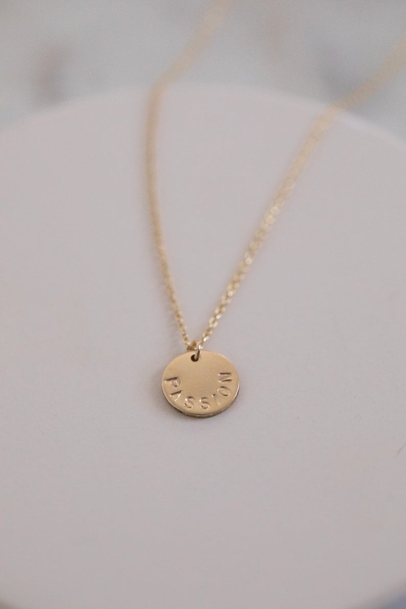Tiny Gold Circle Necklace Stamped Around the Edge