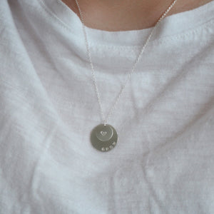Double Silver Circle Necklace