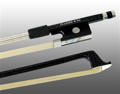 Glasser Violin Bow-Braided Carbon Fiber Rounded, Fully Lined Ebony Frog, Sterling Silver Wire Grip & Tip - Aria Muzic