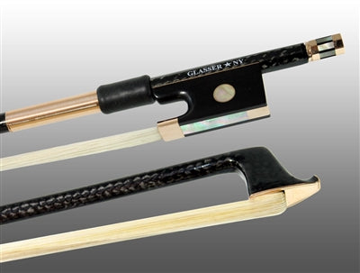 Glasser Violin Bow Braided Carbon Fiber Round, Fully Lined Ebony Frog, 585 Gold Grip & Tip - Aria Muzic