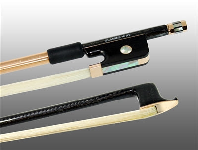 Viola Bow Braided Carbon Fiber Round, Fully Lined Ebony Frog, 585 Gold Grip & Tip - Aria Muzic