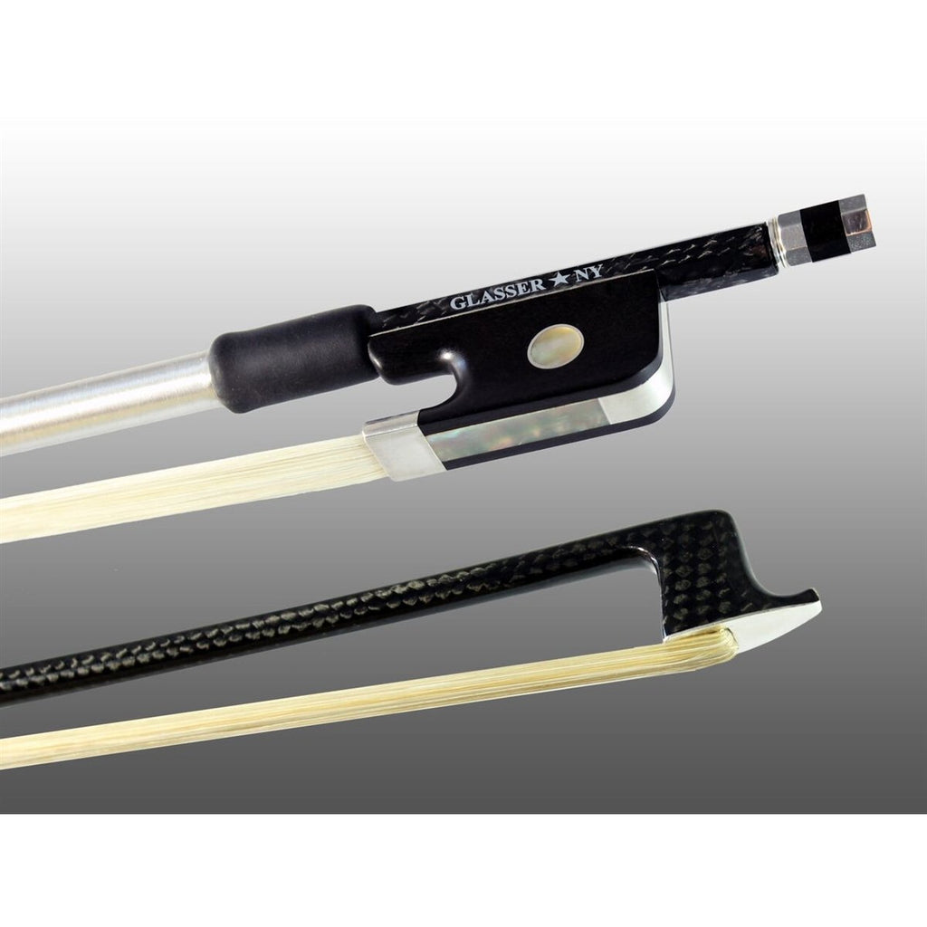 Viola Bow Braided Carbon Fiber Octagonal, Fully Lined Ebony Frog, Sterling Silver Wire Grip & Tip - Aria Muzic