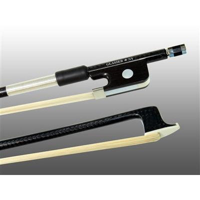 Viola Bow Braided Carbon Fiber Round, Fully Lined Ebony Frog, Nickel Wire Grip, Plastic Tip - Aria Muzic