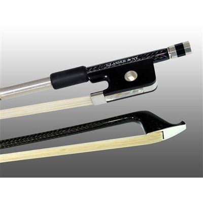 Cello Bow Braided Carbon Fiber Round, Fully Lined Ebony Frog, Nickel Wire Grip & Tip - Aria Muzic
