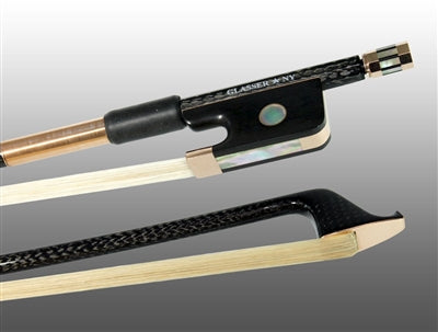 Cello Bow Braided Carbon Fiber Round, Fully Lined Ebony Frog, 585 Gold Grip & Tip - Aria Muzic