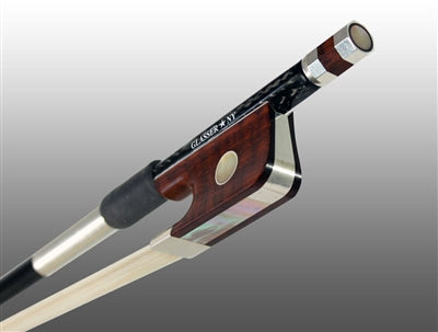 Cello Bow Braided Carbon Fiber Round, Fully Lined Ebony Grog, Sterling Silver Wire Grip & Tip - Aria Muzic