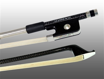 Cello Bow Braided Carbon Fiber Octagonal, Fully Lined Ebony Frog, Sterling Silver Wire Grip & Tip - Aria Muzic