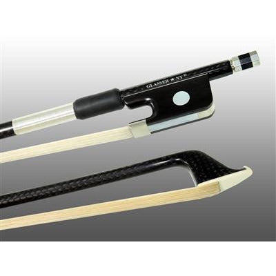 Cello Bow Braided Carbon Fiber Round, Fully Lined Ebony Frog, Nickel Wire Grip, Plastic Tip