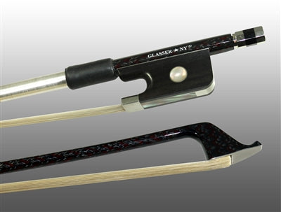 Cello Bow Braided Carbon/Red Hybrid Fiber, Round, Fully Lined Ebony Frog, Nickel Wire Grip & Tip - Aria Muzic